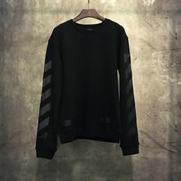 Wholesale Basic Black T Shirt - 2017 Hot Sale Orange Strip Long Sleeve T-shirt Hoody Sweatshirts OFF WHITE Streetwear Basic Hoodies Sweatshirts With Fleece Free Shipping