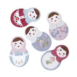 Wholesale Russian Dolls Buttons - Kimter Russian Nesting Dolls Pattern Wooden Buttons With 2 Holes 3x1.9cm For Sewing Knitting Crochet Scrapbooking Pack Of 100pcs I497L