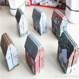 Wholesale Vintage House Tin Boxes - Mini Tin Box Vintage House Tinplate Storage Coin Bag Jewelry Box Lovely Print Storage Box Girls Gifts 5.5*3.5*6.5CM