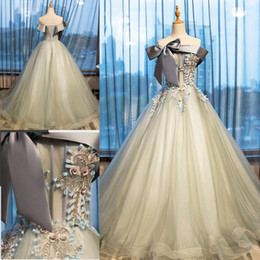 Wholesale Tulle Beige Evening Dresses - Beige A Line Prom Dresses With Gray Ribbon Sashes Appliques Beads Exposed Boning Lace Up Evening Gowns Floor Length Arabic Party Dress