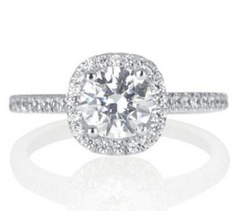 Wholesale Gold 18k Diamond Certified - 1 Ct H-I I1-I2 Certified Simulation Diamond Engagement Ring Round 18K White Gold