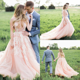 Wholesale See Through Top Wedding Dresses - Sexy Blush Pink Wedding Dresses with White Lace Appliques Charming Plunging Deep V-Neck See Through Top Backless Sheer Bridal Gowns Modest