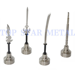Wholesale Nail Knife - 2017 Top Star MiniNail carb cap GR2 Titanium Nail Carb Cap with different dabbers (curved,knife,sword dabber)