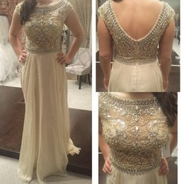 Wholesale Cheap Formal Cap Sleeve Dress - In Stock Prom Dresses Cheap Beaded Cap Sleeves A-Line Floor-length Champagne Chiffon Evening Formal Gown