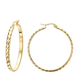 Wholesale Kinder Party - Meaeguet Romantic big round hoop earring wedding jewelry stainless steel simple buckle 2 kind of women earring high quality EH-159