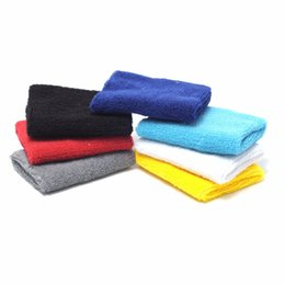Wholesale Cotton Wristbands Sweatband - Wholesale- Unisex Cotton Wristband Sport Sweatband Arm Band Basketball Tennis Gym Wrist Support