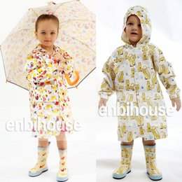Wholesale Children Rain Coat Cartoon Animal - enbihouse Children Rain Coat Cartoon Animals Hooded Raincoat Kids PU Rain Gear Cloak High Quality Free DHL 283