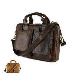 Wholesale Bag Natural Leather Handbag - Wholesale-Men's Bags genuine leather handbags Vintage handbag men briefcases natural cow leather shoulder bag Male business messenger bag