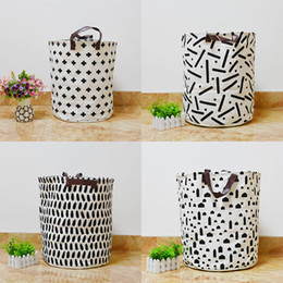 Wholesale Fabric Baskets Handles - Newest Storage Bag Cross Geometry Cars Pattern baby clothes organizer Laundry basket storage bag With Leather Handle Hoom Decor