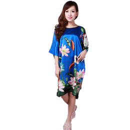 Wholesale Green Ladies Pajamas - Wholesale- Fashion Blue Ladies Robe Summer Pajamas Chinese Women Rayon Sleepwear Kimono Bath Gown Nightgown Kaftan Yukata One Size M04