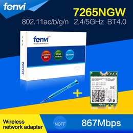 Wholesale Wlan Card Bluetooth - Wholesale- Fenvi Dual band 867Mbps WiFi Bluetooth Card For Intel 7265NGW Wireless-AC 7265 802.11ac Wlan BT 4.0 NGFF better than 7260NGW