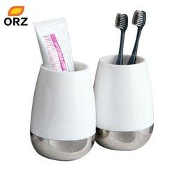 Зубная щетка онлайн-Оптовая торговля-2 шт. творческий зуб кружка Bethroom аксессуары набор зубная щетка держатель чашки нормальной температуры воды Кубок