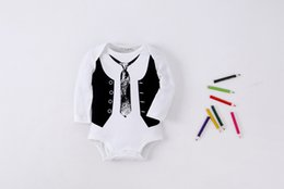 Wholesale Good Kids Clothing - Newborn Baby Romper Gentleman Style Long Sleeve O Neck Cotton Good Quality Bodysuit Children Kids Clothes