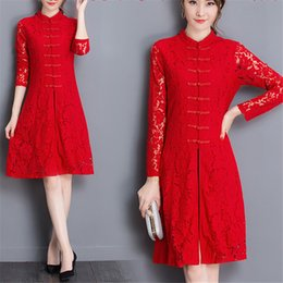 Wholesale Chiffon Knee Length Skirt L - Spring ladies Korean Ladies temperament waist thin red lace dress cheongsam dress skirt long sleeved split ends