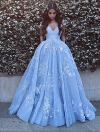 Wholesale Elegant Baby Dress Organza - Elegant Off The Shoulder Lace Evening Dresses A-Line Baby Blue Party Formal 2017 Long Prom Dresses Custom Robe De Soiree Pageant Gowns