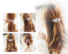 Wholesale Flower Hair Clips For Girls - 1 pc Gorgeous Crystal Flower Rhinestone Charming Hairpin Twinkling Hairclip Bling Floral Barrettes Hair Accessories For Women Girls