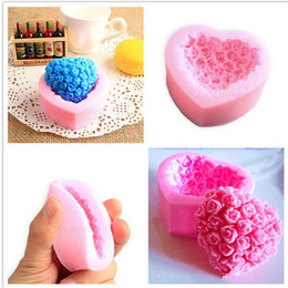 Wholesale Silicone Cake Mould Heart - 3D Love Heart Rose Flower Shape Sugar Craft Silicone Mold Fondant Cake Chocolate Moulds Decorating Baking Tools