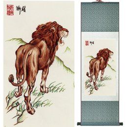 Wholesale chinese lion art - 1 Piece Lion Animal Home Office Decoration Chinese Scroll Silk Wall Art Poster Picture Painting For Living Room