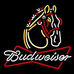 Wholesale Horse Place - Fashion Handcraft Budweiser Clydesdale Horse Real Glass Beer Bar Display Neon Sign24x20!!!