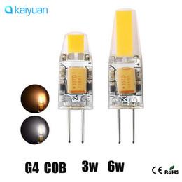 Wholesale Cob Led Smd 6w - DHL ship High Quality G4 LED Dimmable 12V AC DC COB Light 3W 6W LED G4 COB Lamp Bulb Chandelier Lamps LED light warranty 3 year