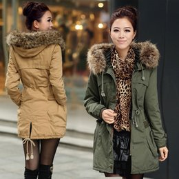 Wholesale Female Military Jackets - Winter coat female army green military long thickening and ms wool cotton-padded jacket in winter jacket cotton-padded clothes