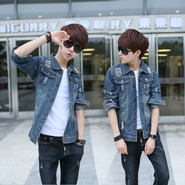 Wholesale Vintage Clothing Cheap China - Wholesale- T china cheap wholesale 2016 spring autumn new male fashion casual Retro denim outerwear hole vintage slim jacket men clothes