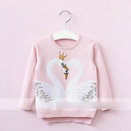 Wholesale Pink Sequin Sweater - Girls cotton sweater children two sequins gooses kick pleat hem long sleeve pullover 2017 new autumn kids fashion clothing C0600