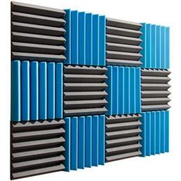 Wholesale Black Acoustic - Newest Fireproof 30*30*5 Acoustic Wedge Foam Absorption Soundproofing Tiles - Blue Black - 12 Pack