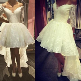 Wholesale Dress China Girls - High Low Prom Dresses Ivory Lace V-neck Off The Shoulder Half Sleeve China Hi Lo Special Occasion Party Gowns For Girls