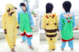 Wholesale Kigurumi Unisex Pyjamas Cosplay Costumes - Kids Pikachu Pajamas Animal Kigurumi Pyjamas Cosplay Christmas Costume Cartoon Poke Jumpsuits Baby Flannel Sleepwear Winter Onesies B796 108