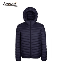 Wholesale Mens Brown Down Coat - Wholesale- 2016 Winter Jacket Men Down Cotton Mens Hooded Clothes Outwear Warm Ultra Light Thin Jacket Coats Black Plus Size Spring WS111