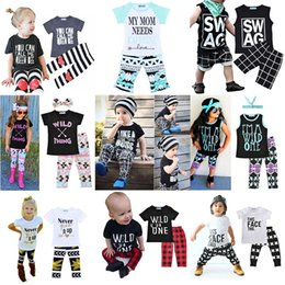 Wholesale Baby Piece Clothe Set - Kids Fashion Clothing Sets Letter Print Stripes Plaid Baby Casual Suits T-Shirt & Pants Infant Outfits Kids Tops & Shorts 1-5T LG2017