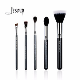 Wholesale Duo Fibre - Wholesale-5Pcs High Quality Pro Makeup Brush Set Foundation Duo fibre Highlighter Blending Eyeliner Brow Make Up Tools Kits T126