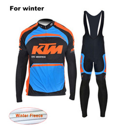 2017 bavettes cyclistes professionnelles KTM Winter Thermal Fleece Pro Team Vêtements de vélo Vêtements Hommes Outdoor Outdoor Coat Warm Cycling Jersey Ensemble de bain avec 9D Gel Pad bavettes cyclistes professionnelles autorisation
