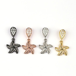 Wholesale Wholesale Starfish For Jewelry Making - Fashion starfish pendant necklace connector micro pave CZ Zircon connector charms for jewelry making accessories 10pcs BMW00537