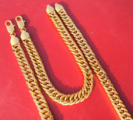 Wholesale Noble Set - Noble 24k yellow solid gold filled necklace chain bracelet concentrated sets