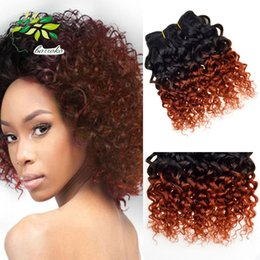 Wholesale Ombre Virgin Hair Pcs - Brazilian Virgin Hair Ombre Kinky Curly Weave Short Bob Hair Weave 6 Pcs Lot For Full Head Two Tone Orange Ombre Human Hair