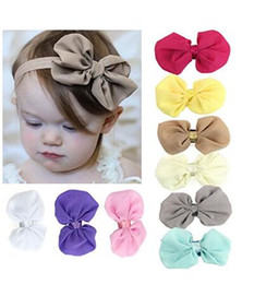 Wholesale Babys Headbands - 9PC Infant Toddler Kid hair band Headwear Sweet Babys Girls Chiffon Flower Elastic Headband + Flower Baby Hat A218