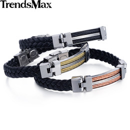 Wholesale Mens Braided Steel Jewelry - Wholesale- Trendsmax Genuine Leather Braided Rope Stainless Steel Bar Rope Charms Bracelet Bangle Mens Womens Unisex Jewelry KBM137