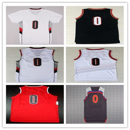 Wholesale Orange Team Names - 100% Stitched Mens 0 Damian Lillard Jersey Team Retro Black White Red Lillard New Material Sports Shirs With Player Name,Size S-2XL