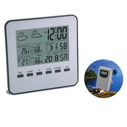 Wholesale Digital Thermometer Temperature Meter - In Outdoor LCD Digital Thermometer Hygrometer Wireless Weather Station Temperature Humidity Meter Weather Forecast Alarm Clock