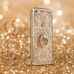 Wholesale Iphone Finger Ring Case - Luxury Finger Phone Case For Apple iPhone i7 7Plus 6plus 6s PLUS 5 SE, 3D Diamond Ring Stand Bracket Kickstand Air-Cushion Protective Covers