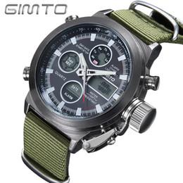 Wholesale Men S Sports Dive Watch - s Dual Display Wristes 2017 GIMTO Brand Diving LED Digital Watch Men Military Sport Wrist watch Waterproof Leather Quartz Watch Clock Rel...