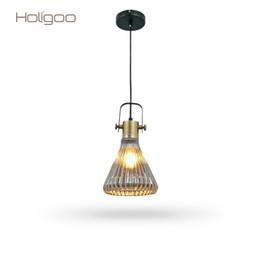 Wholesale 12v Coffee - Holigoo Europe Style Simple Loft Retro Pendant Light Bar Restaurant Coffee Shop Lamp Personality Creative Glass Hanging Lighting