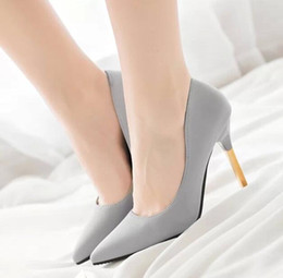 Wholesale Trendy Slip Shoes - Spring and Autumn New Korea trendy nightclub lady pointed soft surface with high heels lady Miss shoes size: 35-39