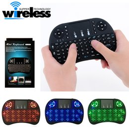 Wholesale russian keyboard for tablet - Mini Wireless Keyboard 3 colour backlit 2.4GHz English Russian Air Mouse Remote Control Touchpad For Android TV Box Tablet Pc