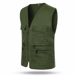 Wholesale Men Travel Vest - Wholesale- Mens Vest large chest waistcoat Multi-pocket colete travel or work wear plus size