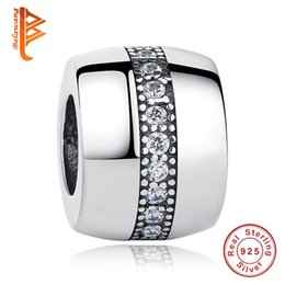 Wholesale Diy European Bracelets 925 - BELAWANG Authentic 925 Sterling Silver Big Hole Beads Pave Cubic Zircon European Charm Beads Fit Original Pandora Bracelet DIY Jewelry