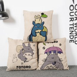 Wholesale Vintage Kids Bedding - Wholesale- vintage Cotton Linen creative My Neighbor Totoro Throw Cushion Square Pillow Case Cover kids gift bedding wedding *%