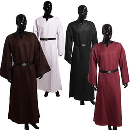 Wholesale Medieval Renaissance Gowns - Medieval Wicca Pagan Ritual Robes 4 Colors Mens Vintage Priest Gown Cope Cosplay Costume with Waistbelt